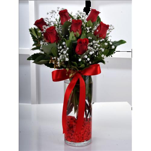 7 Adet Kırmızı Gül Çiçek Aranjmanı